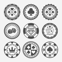 Casino and poker chips vector round badges