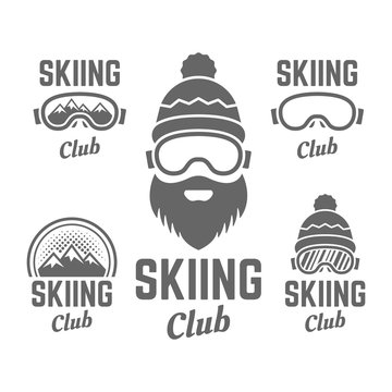Skiing club isolated vector badge or emblems