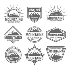 Mountains set of vector monochrome vintage badges
