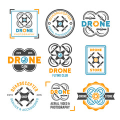 Drone or quadrocopter set of colored emblems