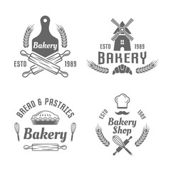 Bakery and pastries vector black isolated emblems