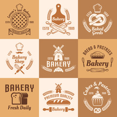 Bakery and pastries vector vintage colored emblems