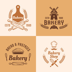 Bakery and pastries vector colored emblems