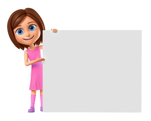 3d rendering. Cheerful girl in a pink dress points to an empty board. Illustration for advertising.
