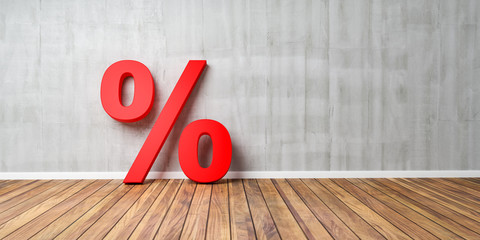 Red Percent Sign on Brown Wooden Floor Against Gray Wall - Sale Concept - 3D Illustration