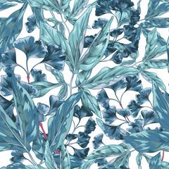 Blue Tropical Seamless Pattern