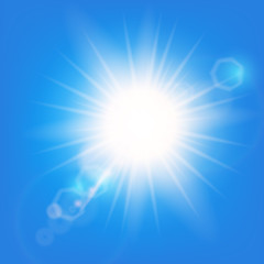 Sun flash with rays and spotlight.  Sunlight special lens flare light effect. Vector Illustration