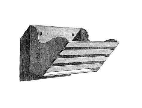 Raufe zum Trocknen des Geschirrs.aus: Marie Adenfeller, Friedrich Werner: Illustriertes Koch- und Haushaltungsbuch, Friedrichshagen 1899/1900, S. 950, Fig. 1042.