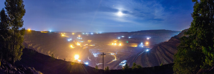 Night open pit panorama