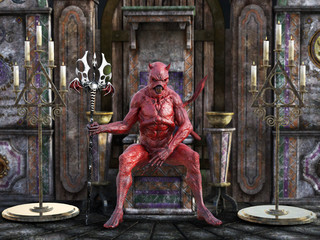 3D rendering of a devil sitting on a throne.