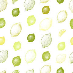 Lemon seamless pattern. Hand drawn vector fruit illustration. Engraved style. Vintage citrus background.