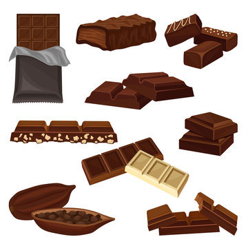 Flat vector set of chocolate products. Candies, pieces of bars and cacao bean full of seeds. Sweet food. Elements for poster or banner of candy shop