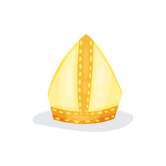 Golden papal tiara or pope tiara. Shiny gold hat of church servant. Religious object. Flat vector element for website or mobile app