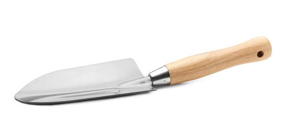 Metal shovel for gardening on white background
