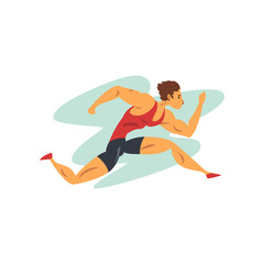 Athlete man running, professional sportsman at sporting championship athletics competition vector Illustration on a white background
