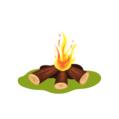 Burning bonfire on green grass. Firewood and hot yellow-orange fire. Element of Stone Age. Flat vector for mobile game or children book
