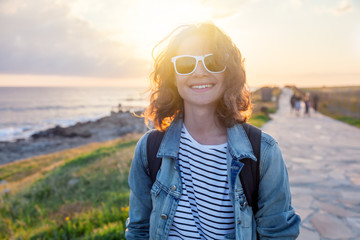 Free Happy Woman Enjoying Nature. Beauty Girl Outdoor. Freedom travel vacation  concept.