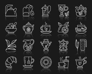Tea simple white line icons vector set