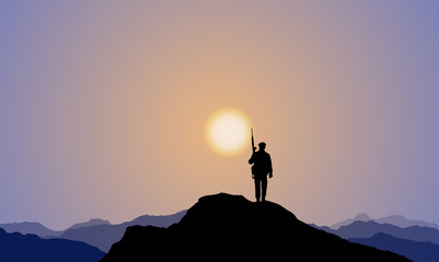 A Soldier Climbing Onto The Mountaintop, Sunset
