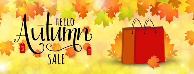Special autumn sale banner. Vector illustration with autumn leaves. Poster with fall and hand drawn lettering