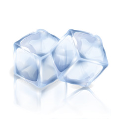 Two ice cubes isolated on the white background. Vector illustration of two square pieces of ice. Making of cold drinks, alcoholic and non-alcoholic beverages, cocktails.