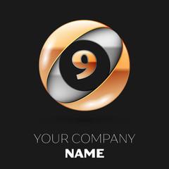 Realistic Golden Number Nine logo symbol in the silver-golden colorful circle shape on black background. Vector template for your design