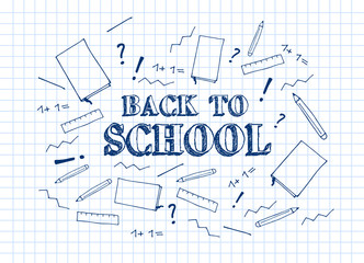 Back to school. Vector education illustration. Hand drawn poster