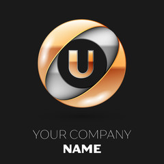 Realistic Golden Letter U logo symbol in the silver-golden colorful circle shape on black background. Vector template for your design