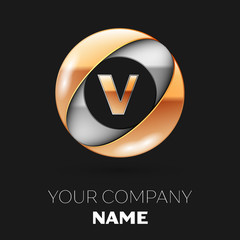 Realistic Golden Letter V logo symbol in the silver-golden colorful circle shape on black background. Vector template for your design