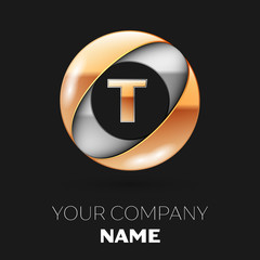 Realistic Golden Letter T logo symbol in the silver-golden colorful circle shape on black background. Vector template for your design