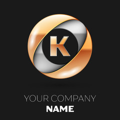 Realistic Golden Letter K logo symbol in the silver-golden colorful circle shape on black background. Vector template for your design