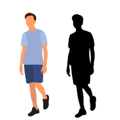 Wall Mural - vector, isolated silhouette man walking, flat style