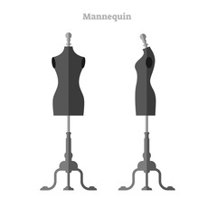 Mannequin vector illustration. Woman shape silhouette dummy front and side collection set. Isolated beautiful and sexy black fashion model shape for designer and tailor.
