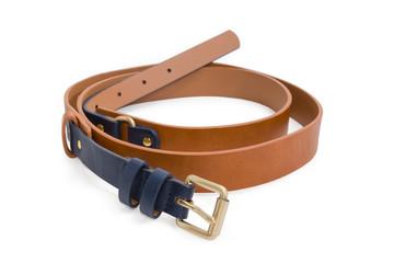 Brown-black belt for women close-up at selective focus