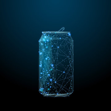soda bottle composed of polygons. Eat and drink concept. Low poly vector illustration of a starry sky or Comos. The bottle consists of lines, dots and shapes.
