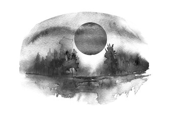 Watercolor countryside landscape. The shore of the river, against the background of a black silhouette  forest, a black sky and  moon. Moon eclipse. Night landscape.