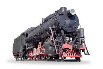 Old steam locomotive on a white background