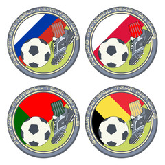 Soccer Fan Logo 2. Vector illustration of a color logo for football fans of teams from Russian, Poland, Portugal and Belgium.