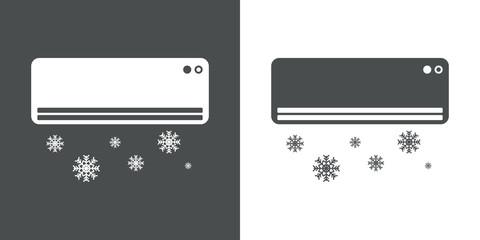 Icono plano aire acondicionado con simbolo frio en gris y blanco
