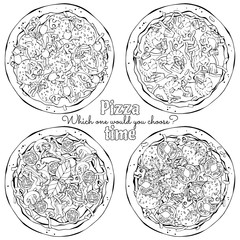 Group of vector illustrations on the pizza theme; several kinds of pizzas, cooked according to different recipes.