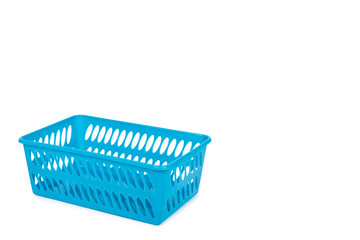 Blue laundry basket, grocery container isolated on white background. copy space template