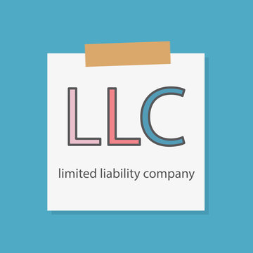 LLC (Limited Liability Company) written in a notebook paper- vector illustration