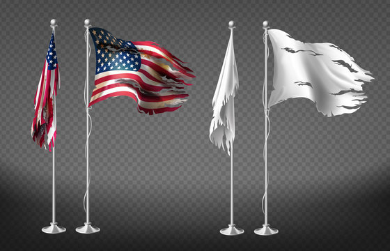 Vector realistic set with damaged flags of United States of America on steel poles isolated on transparent background. Dirty white banners with ragged edges on flagpole. Clipart for your design