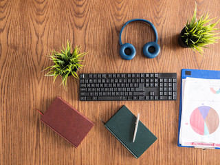 businessman desktop concept image top view, clipboard, books, headphones, pot of grass