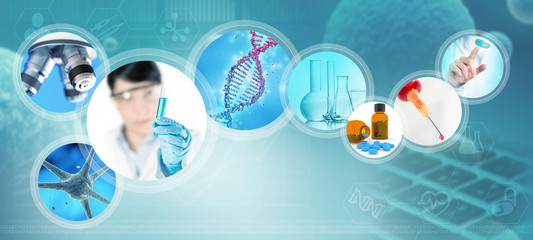 scientific and pharmaceutical images on abstract blue background