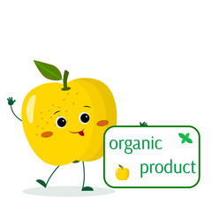 A cute yellow apple cartoon character holds a plate of organic foods.