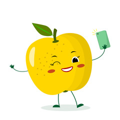 Cute yellow apple cartoon character with a smartphone and does selfie.