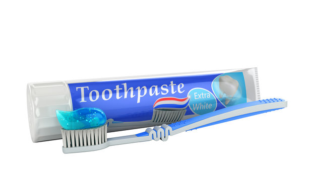 modern concept of the design of a tube of toothpaste toothpaste tube with toothbrush 3d render on white no shadow