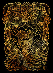 Lust. Latin word Luxuria means sexual desire. Seven deadly sins concept on black background. Hand drawn engraved illustration, tattoo and t-shirt design, religious symbol