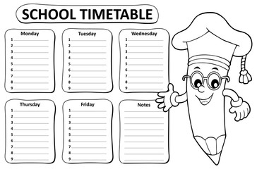 Black and white school timetable topic 1